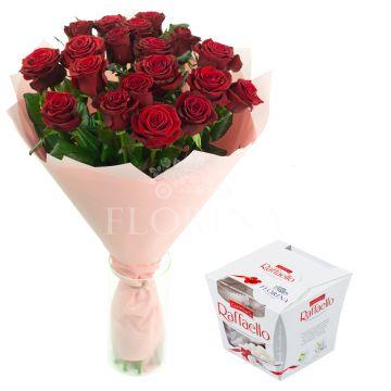 19 красных роз + Raffaello 150г.
