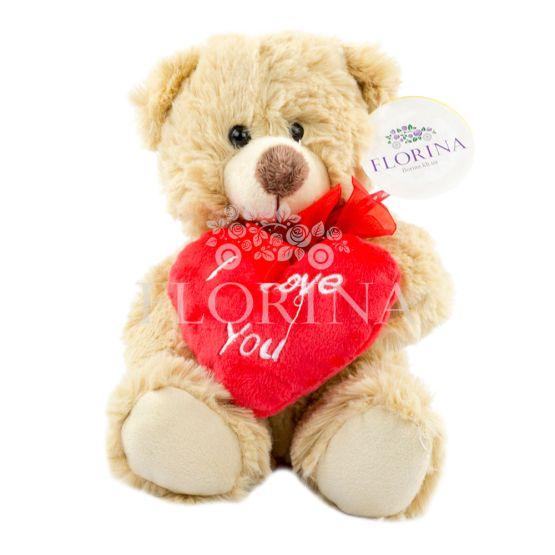 "Мишка бежевый с сердцем ""I Love You"" 23 см."